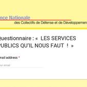 """Questionnaire : """"LES SERVICES PUBLICS QU'IL NOUS FAUT!"""""""