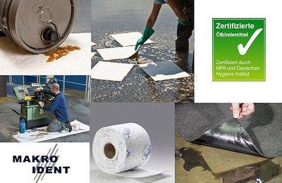 Ölbindemittel:  Sehr saugstarke ölbindende Tücher, Rollen und Matten