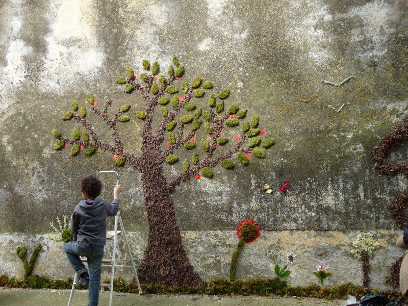 Atelier graff végétal pour le 3 eme festival de la nature et de l'humour 2012 à montlaur dans l'Aude avec Marc Pouyet et Maïté Milliéroux