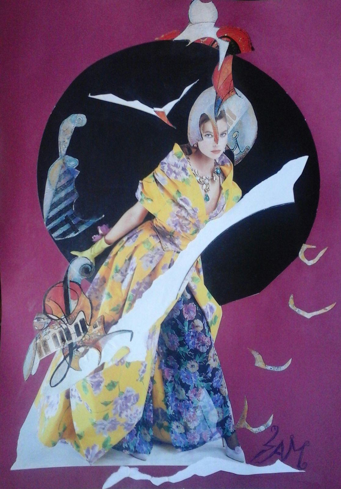 """"""" ENVOL ET POÉSIE """" Composition : Collage, montage papier, sur un support cartonné. haut 34 cm largeur 24 cm"""