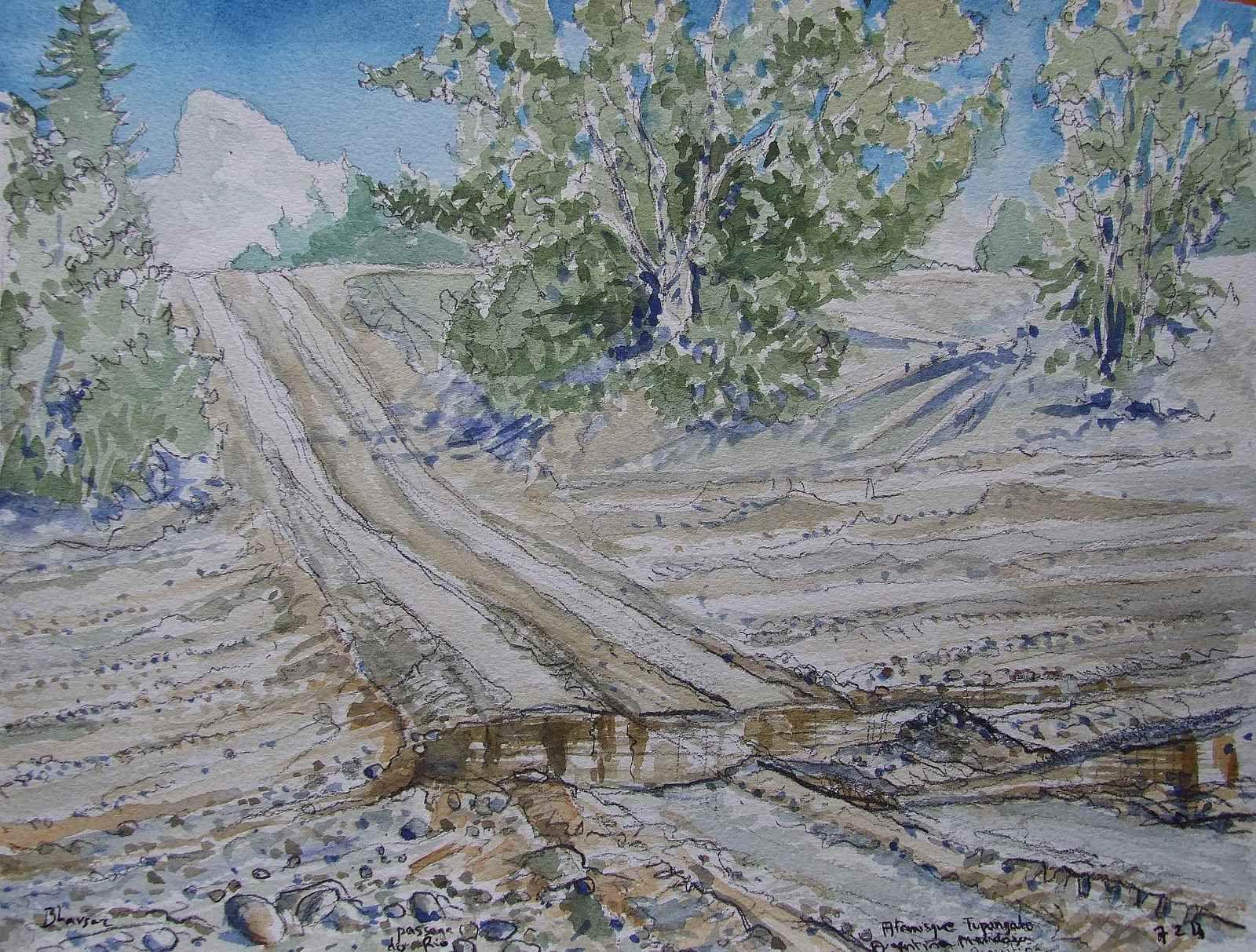 C'est un très grand tableau de la Cordillère des Andes (1,50x14m) que j'ai peint en Argentine. J'ai passé successivement les mois de mai 2009, janvier 2010, février 2011 et février 2013 dans la magnifique finca de John et Chantal (Atamisque, Tupungato, valle de Uco, Mendoza)  pour peindre le vaste panorama des Andes. Je n'ai eu de cesse de peindre et dessiner, tellement ces moments ont été exceptionnels pour mon travail de peintre..
