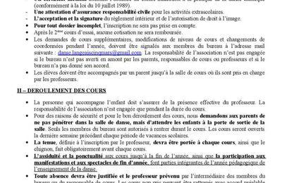 Réglement intérieur et planing 2018-2019
