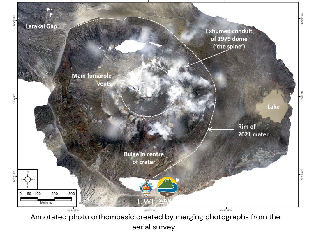 Soufriere of st. Vincent - aerial photographic mapping of June 2021 - Doc. UWI-SRC / Dr. Stinton - one click to enlarge