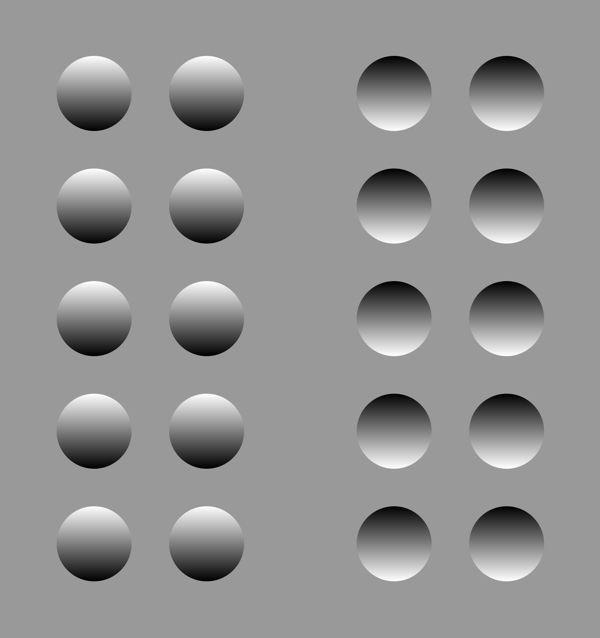 des ronds clairs au dessus et sombre en bas sont comme éclairés du haut sont des reliefs à gauche et des creux à droite