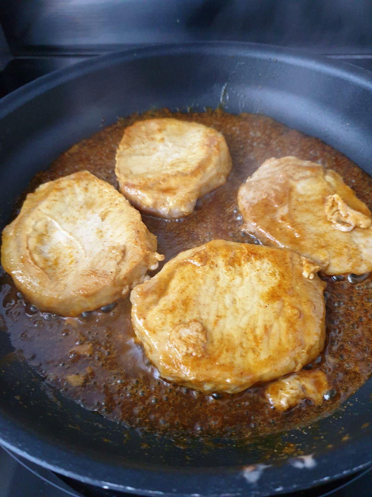 Côtes de porc curry miel