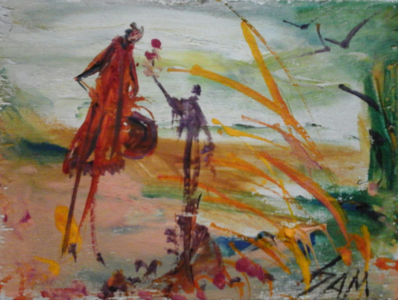 """""""  UNE PETITE FLEUR POUR UN PETIT AMOUR  """"  Peinture gouache sur bois haut 9 cm largeur 12 cm."""