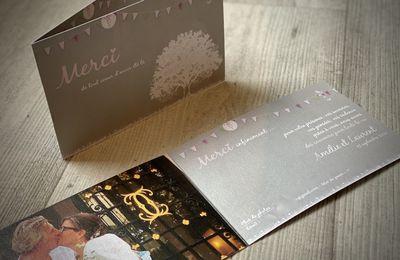 La carte de remerciements assortie au faire part de mariage d'Amélie & et Laurent ... thème champêtre chic