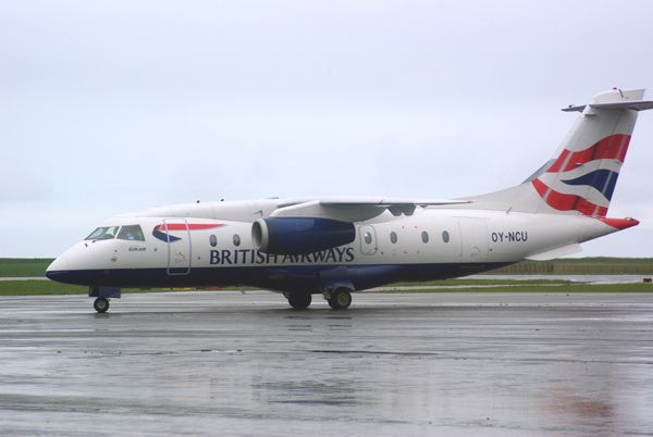 Une surprise avec ce Dornier 328jet OY-NCU de la compagnie Sun Air of Scandinavia aux couleurs de British Airways.