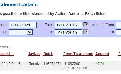 Withdrawal proof from AdClickXpress!