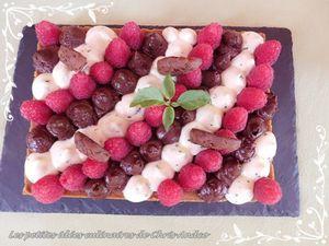Tarte framboise, chocolat & crème au basilic