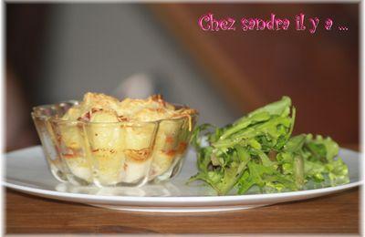 Petit gratin de pommes de terre au Roquefort et jambon cru