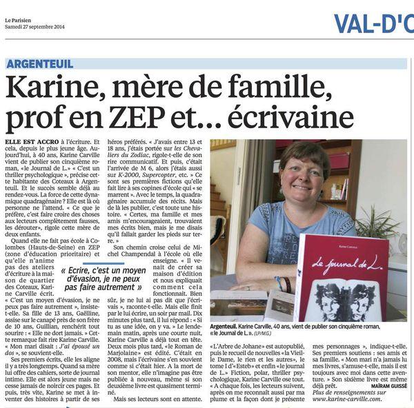 Karine Carville interviewé par le Parisien