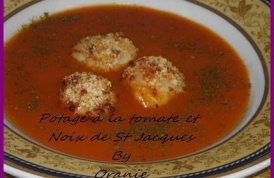 POTAGE A LA TOMATE ET NOIX DE ST JACQUES