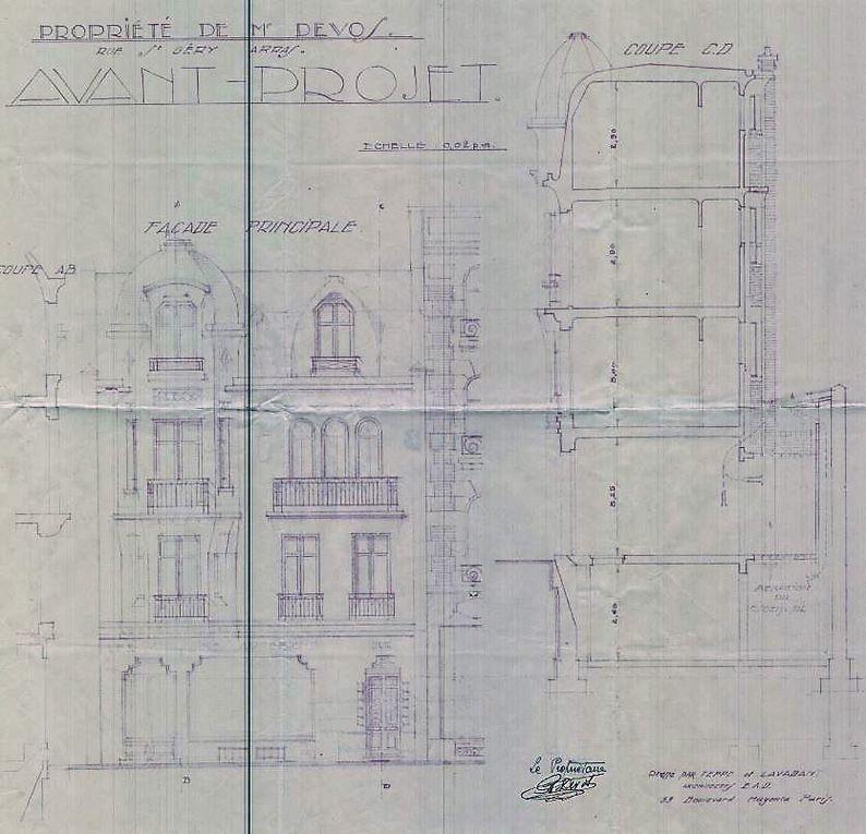 37 et 39 rue Saint-Géry (Désiré-Delansorne). André Teppe et Pierre Lavant, architectes, 1928 (détail) - Angle des rue Saint-Géry (Désiré-Delansorne) et Gambetta, 1922, source : médiathèque municipale.