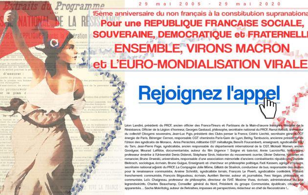Pour une REPUBLIQUE FRANCAISE SOCIALE, SOUVERAINE, DEMOCRATIQUE et FRATERNELLE, ENSEMBLE, VIRONS MACRON et L'EURO-MONDIALISATION VIRALE !