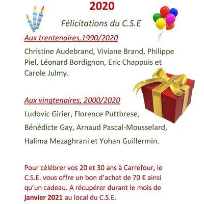 20 et 30 ans d'ancienneté en 2020 Félicitations du C.S.E !!!