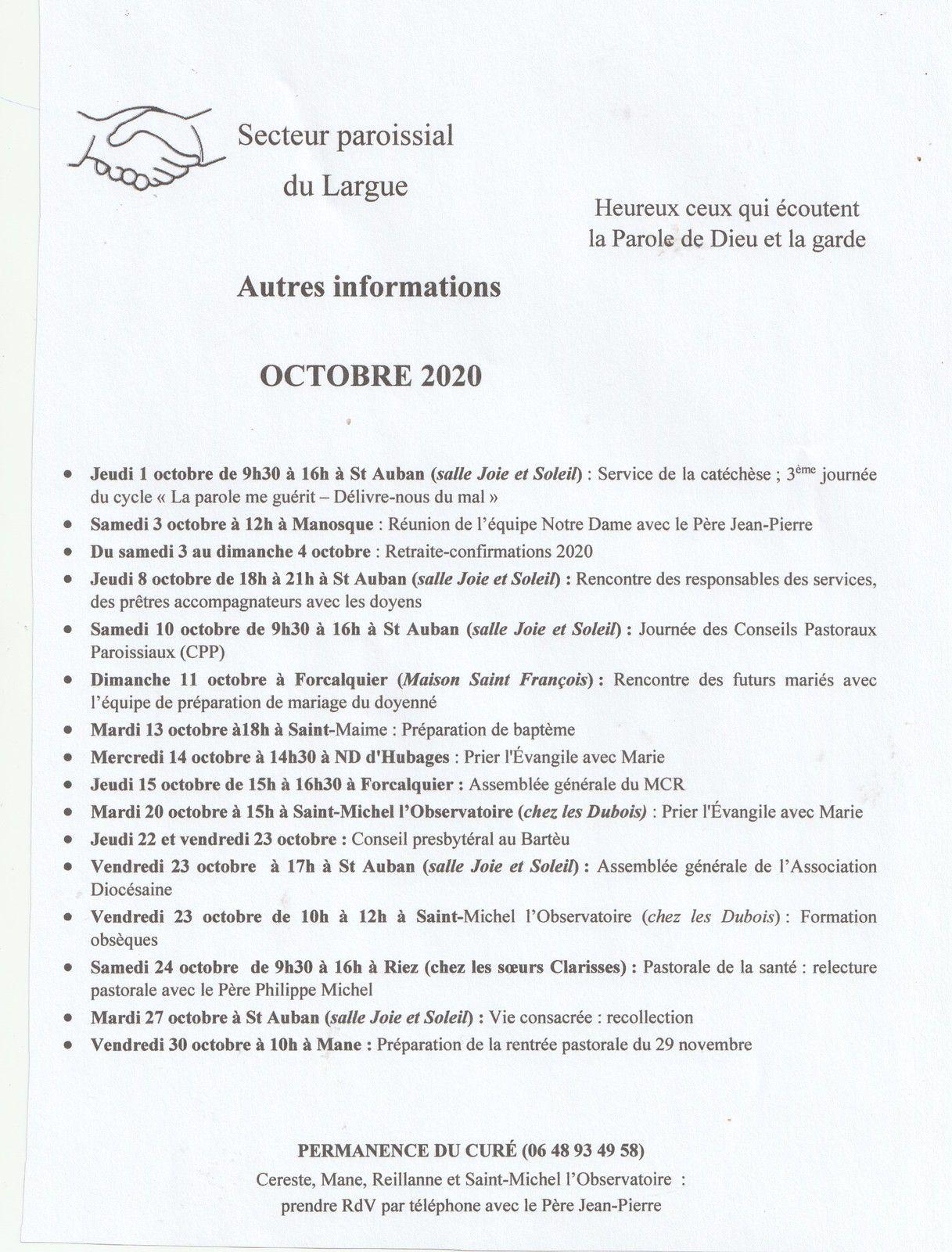 HORAIRES MESSES ET DIVERS - OCTOBRE 2020 - paroisse du Largue.