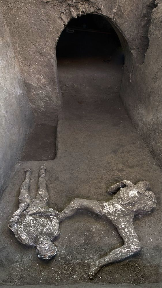 Pompeii - the bodies, after molding, in situ - photo Pompeii Archaeological Park.