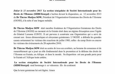 Guinée: la SIDH rend hommage au Dr Thierno Madjou Sow, pionnier de défense des droits de l'homme