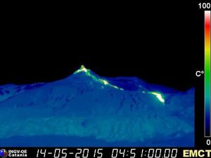 Etna NSEC - advance of lava on 14/05/2015 at 4:51 & 5:57 loc - Doc. webcan therm. INGV Catania