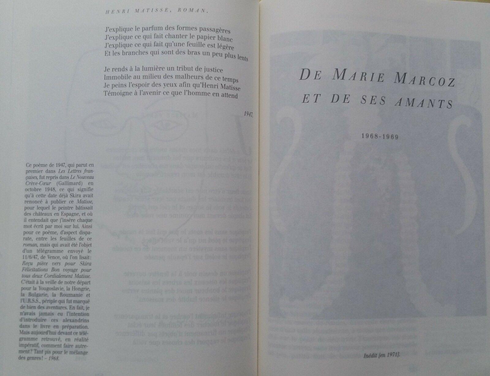 Henri MATISSE, Roman d'ARAGON - les tableaux du Tome II - partie 1
