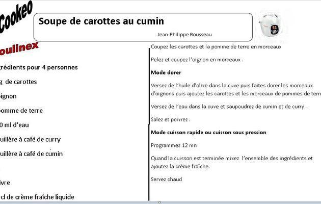 Recette  cookeo : fiche soupe carottes cumin