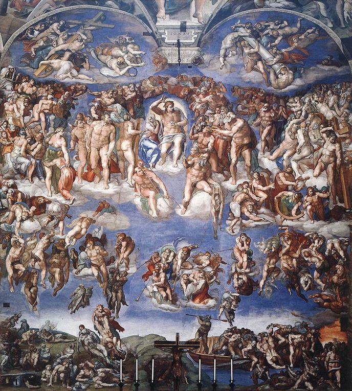 Michel Ange, un artiste complet : la Pietà (1499), la bibliothèque des Medicis (1530),  la place du Capitole (1548), le jugement dernier (1536-1541)