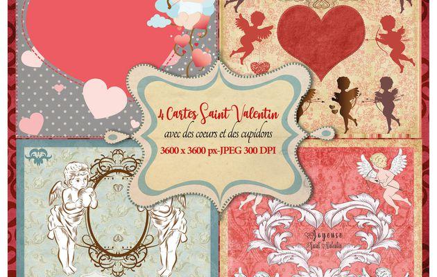 4 Cartes de vœux Saint Valentin à imprimer avec des cœurs et des cupidons 3600 x 3600 haute définition 300 DPI