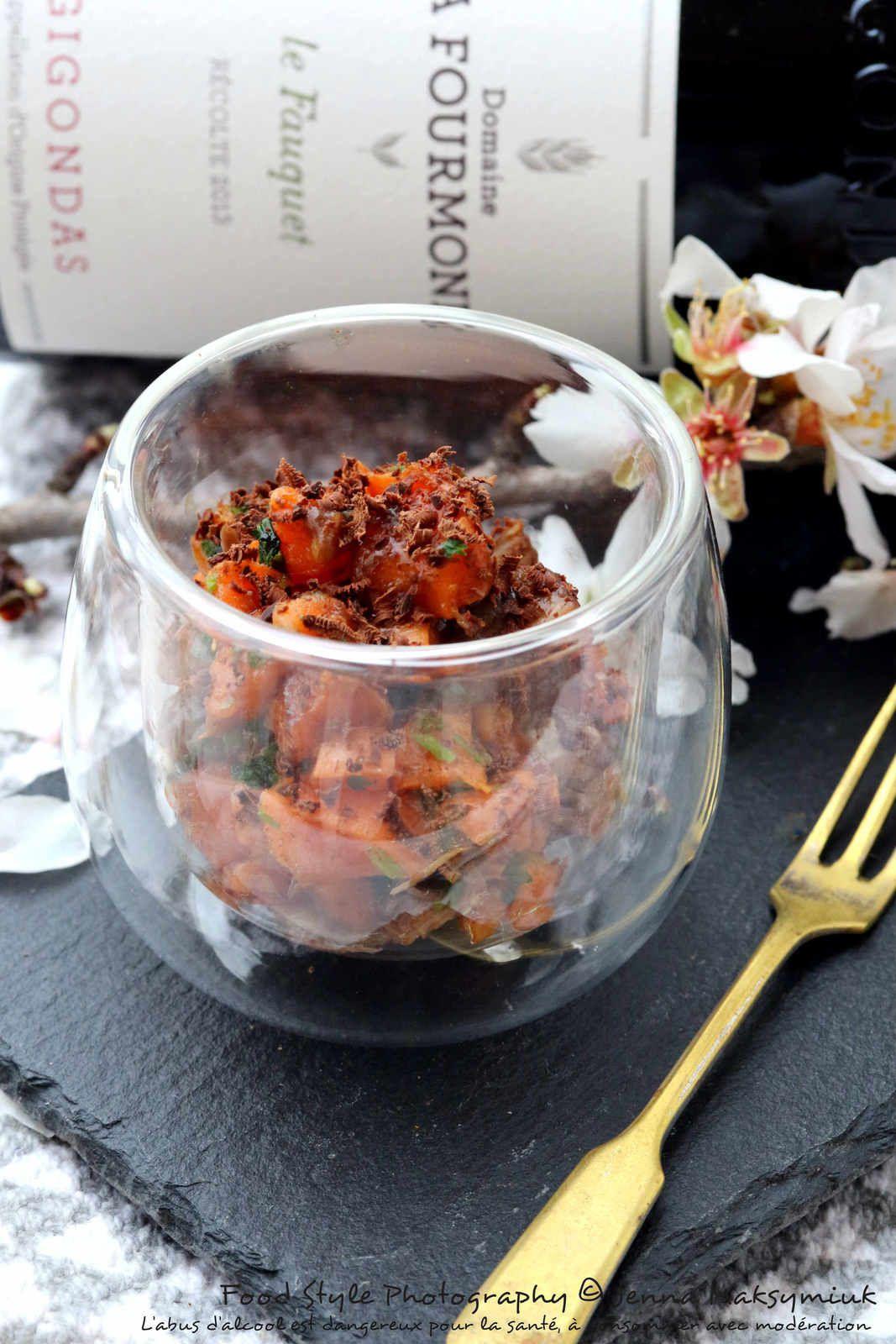 Verrine de boeuf bourguignon et ses carottes, revisité