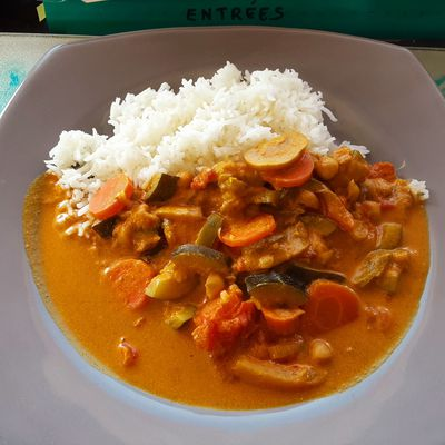 Légumes en sauce curry et coco