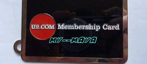 """U2 KEY RING FAN CLUB """"Membership card"""" RARE"""