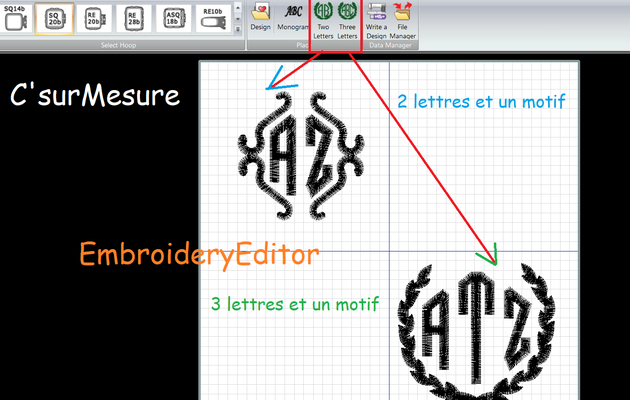 9 Mono 2 et 3 lettres : d'Embroidery Editor Janome.