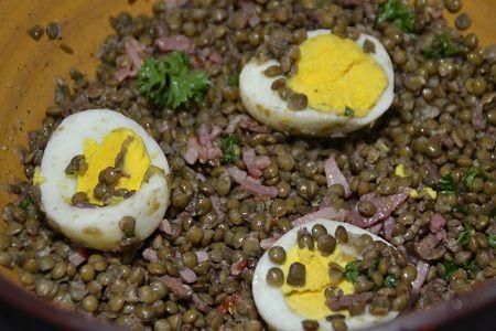 Salade lentilles oeufs au cookeo ou sans