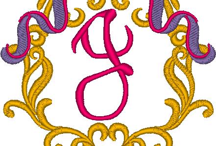 Cadre baroque la lettre J