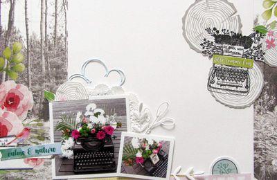 Une page et une composition florale : DT Lovely tape