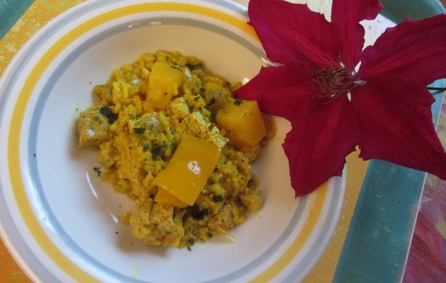 Risotto au tofu mangue-curry
