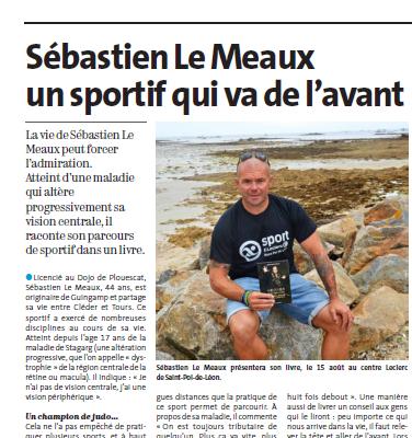 Article du Télégramme de Sébastien LE MEAUX pour sa séance de dédicaces.