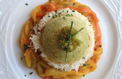 dômes de mousse de brocolis et saumon,compotée de poivrons TM5