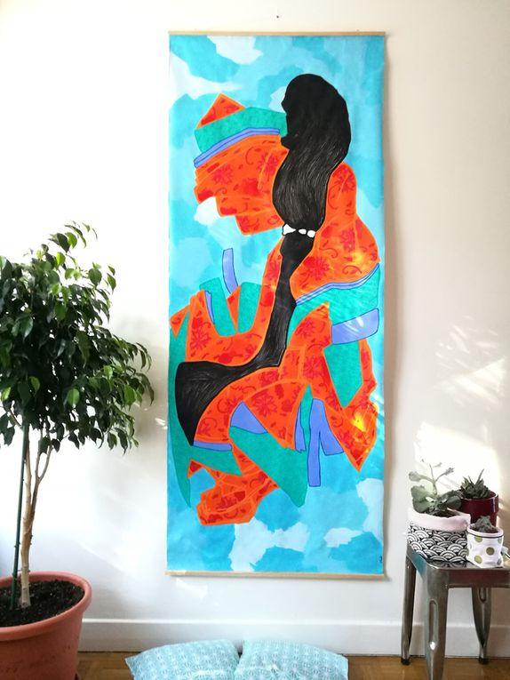 Tokyo Kimono - Acrylique sur toile, 200*80 cm, 2017