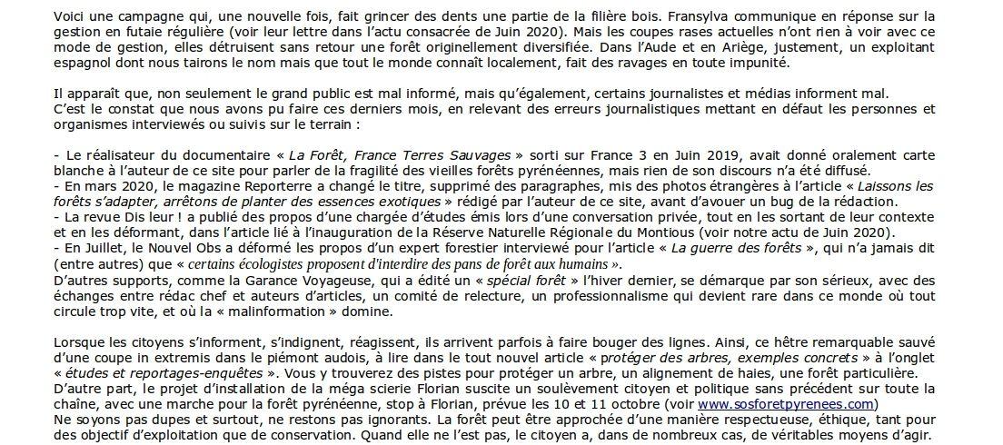 www.vieillesforets.com : lettre d'info de l'automne