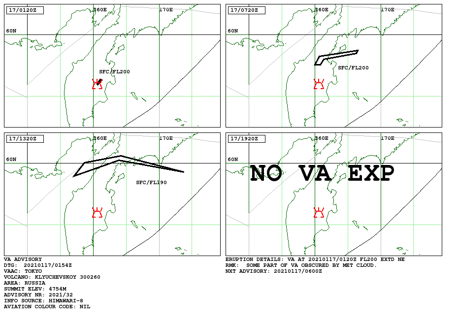 Klyuchevskoy - 17.01.2021 - Volcanic ash advisory - Doc. VAAC Tokyo