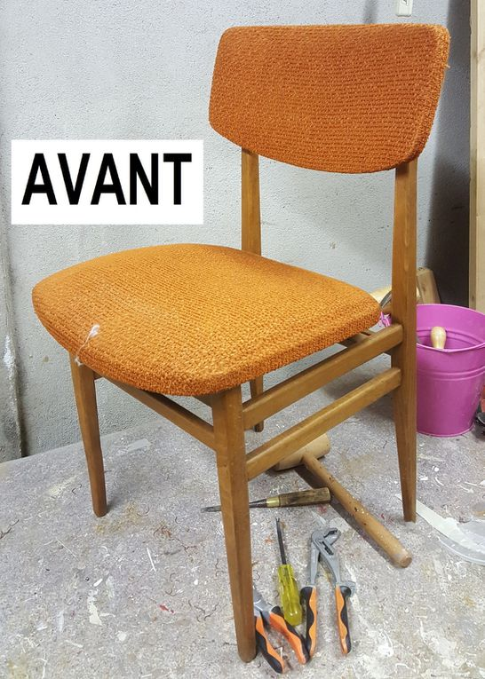 renovation chaises tissu motis geometriques style scandinave arabesque thiers tapissier decorateur lezoux clermont cournon aubiere 63