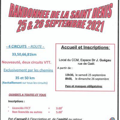 Randonnée de la Saint Denis le 25 et 26 Septembre à Saint Méen le Grand