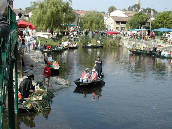 La Venise verte est une partie très reposante , verdoyante, située dans le Marais Poitevin..Un marché sur l' eau s' y déroule une fois par an ...