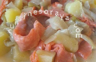 Endives au saumon fumé, pommes de terre et à la cancoillotte