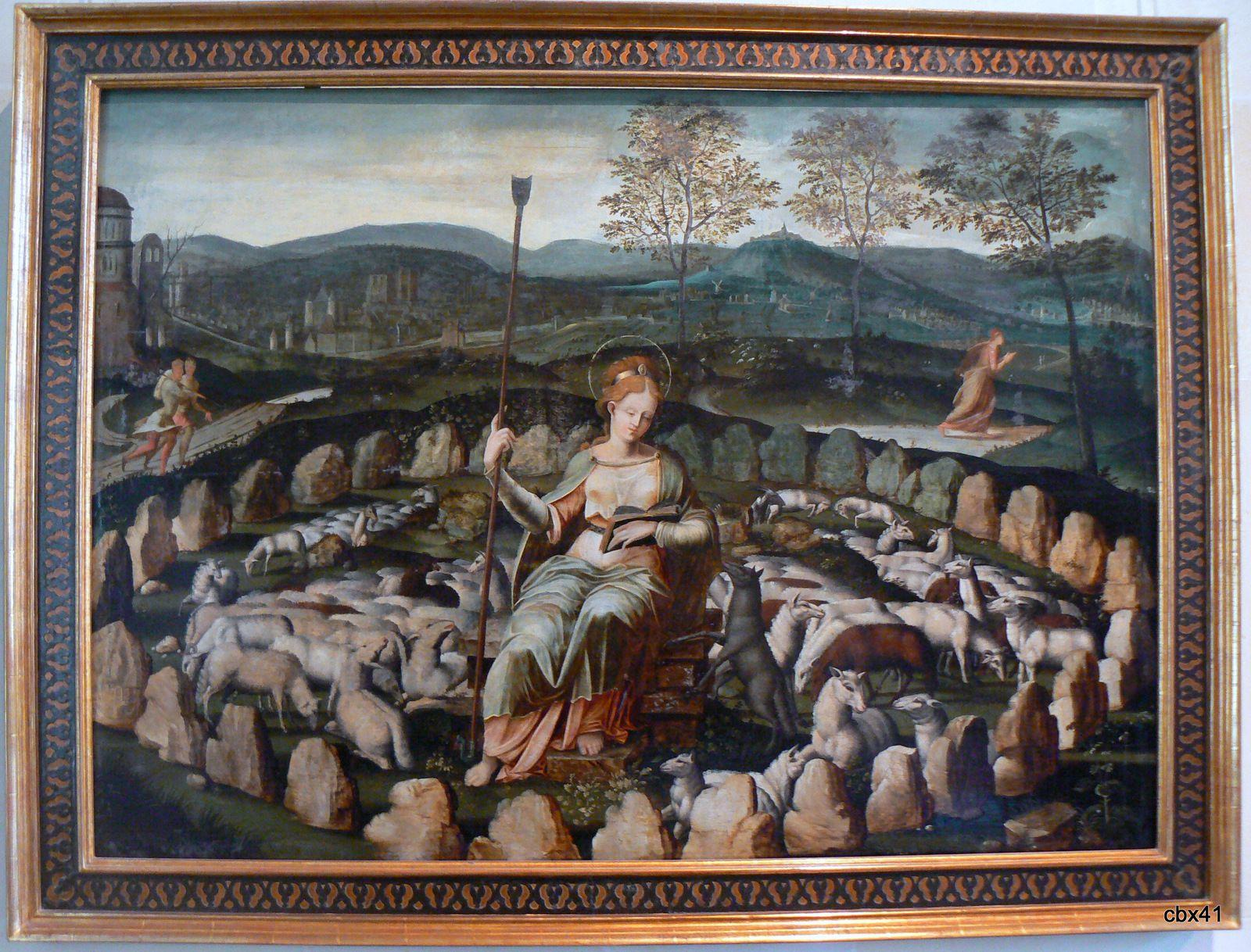 Sainte Geneviève gardant ses moutons, école flamande