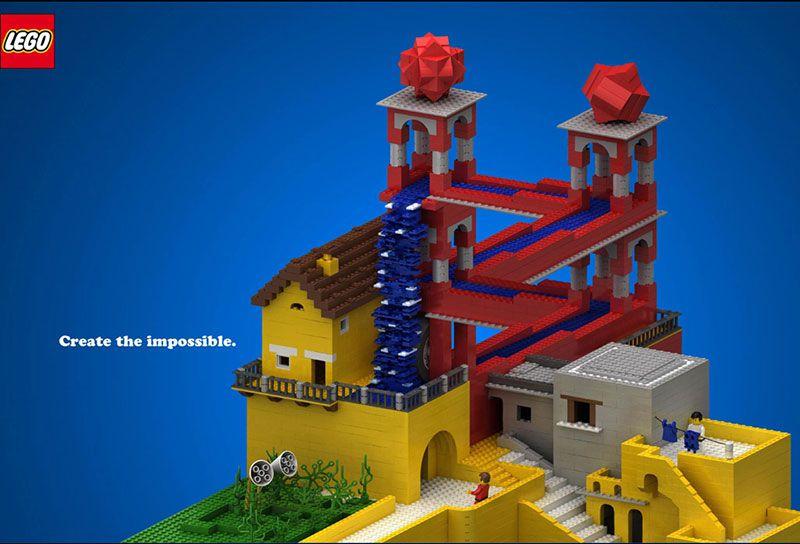 Publicité Lego avec la chute d'eau de Escher