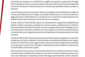déclaration de la Commission Exécutive