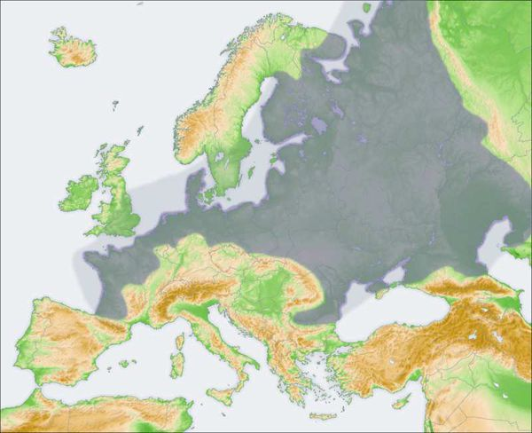 The European Plain, shaded in dark gray. Light gray indicates the shallow sea floor that surrounds the plain.