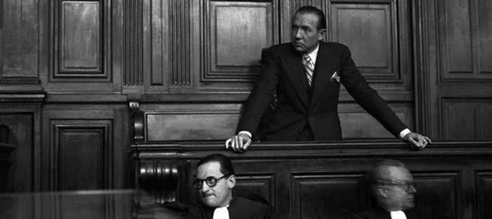 Giacomo Antonini avec Jean Luchaire (au milieu) et l'homme à droite qui est, peut-être, Sonderführer Gerhard Heller - Jean Luchaire lors de son procès